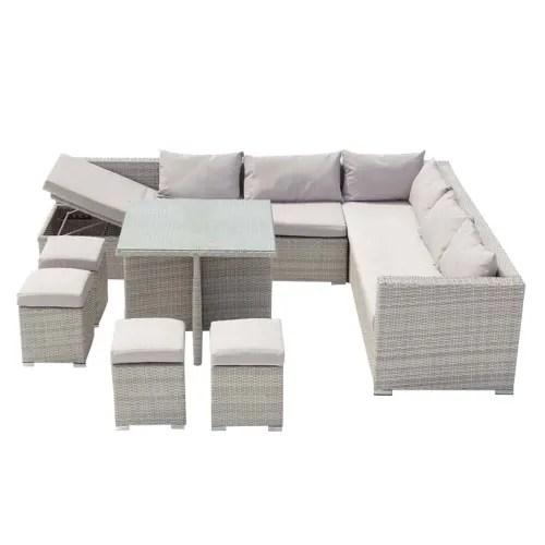 salon de jardin encastrable 10 places en resine gris blanc maisons du monde