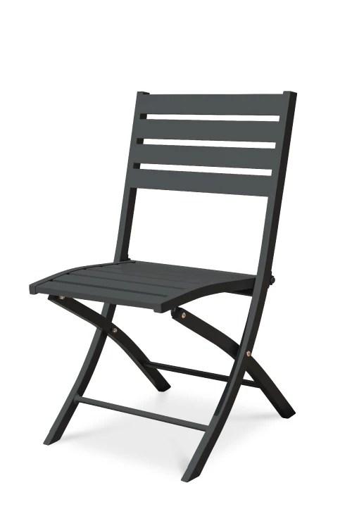 chaise de jardin pliante en aluminium gris anthracite maisons du monde