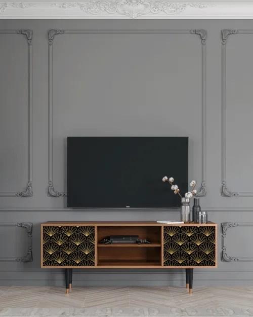 meuble tv noir et dore 170cm 2 portes maisons du monde