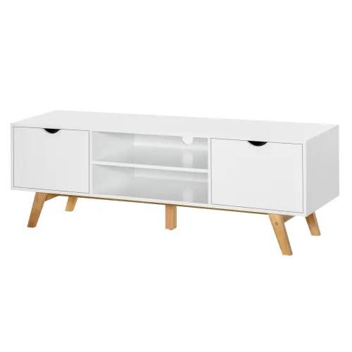 meuble tv style scandinave 2 portes 2 niches blanc bois hevea maisons du monde