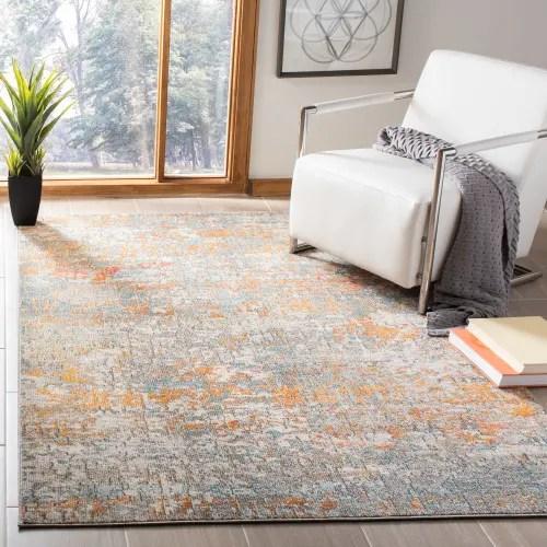 tapis de salon contemporain gris et orange 120x180 maisons du monde