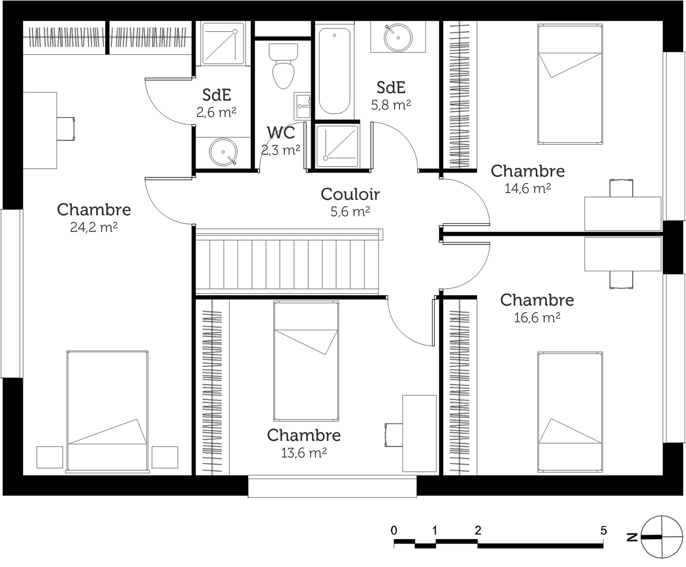 plan au sol du 1er etage plan de maison a etage avec 4 chambres