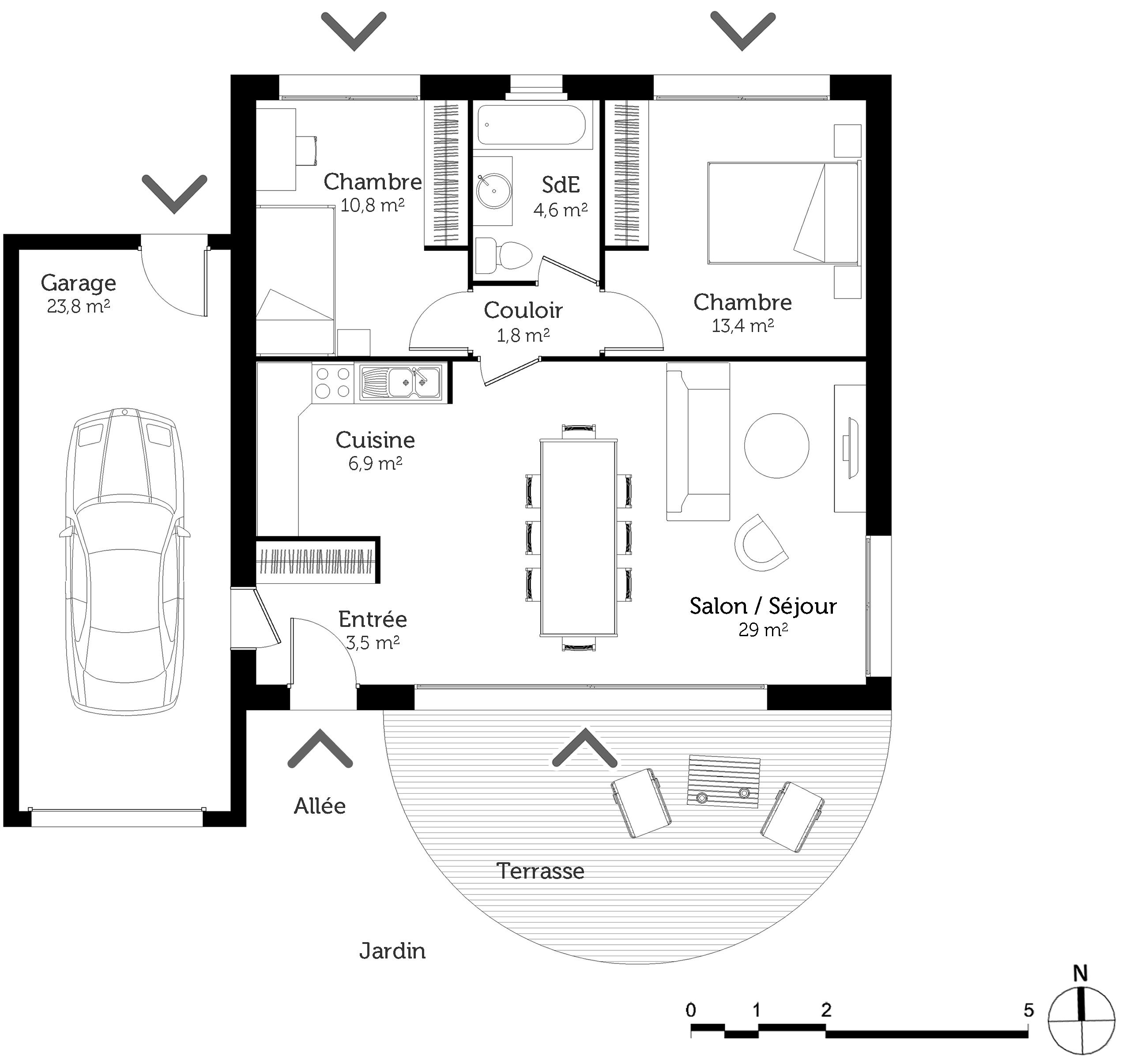 Plan Maison 70 M Avec 2 Chambres Ooreka