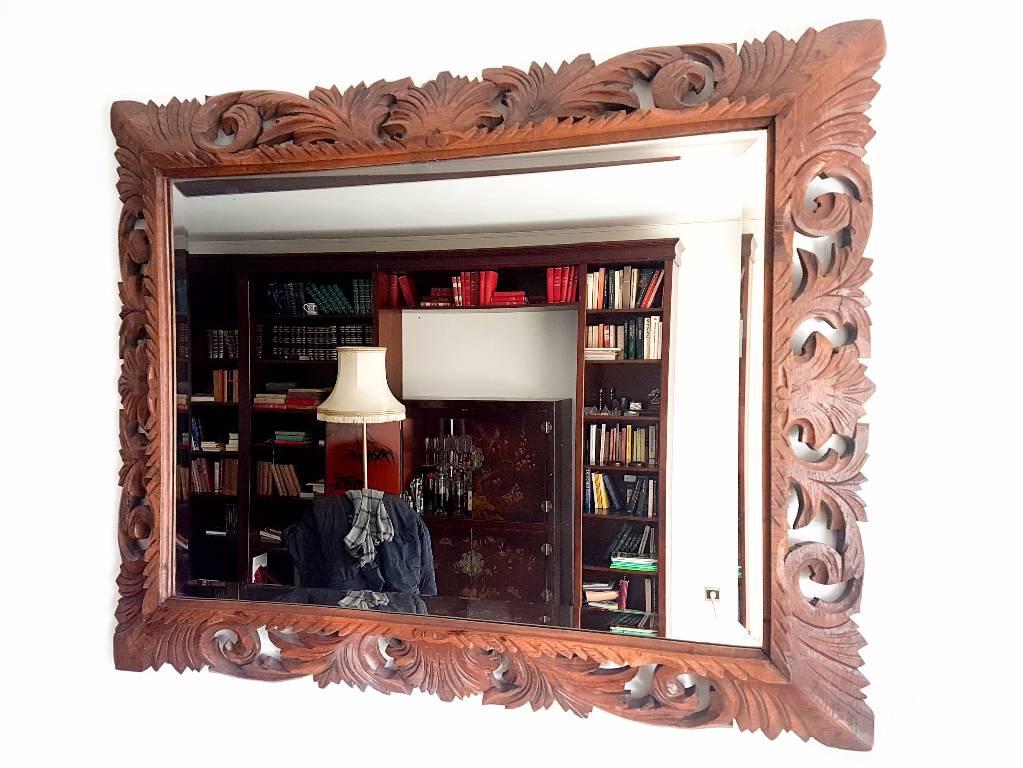 miroir style louis xiii biseaute en chene massif