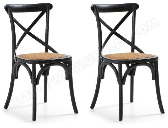 lf chaise silea lot de 2 chaises bois noir