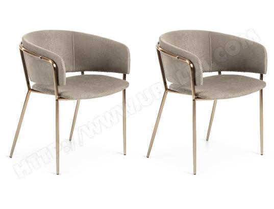 chaise lf lot de 2 chaises konnie tissu