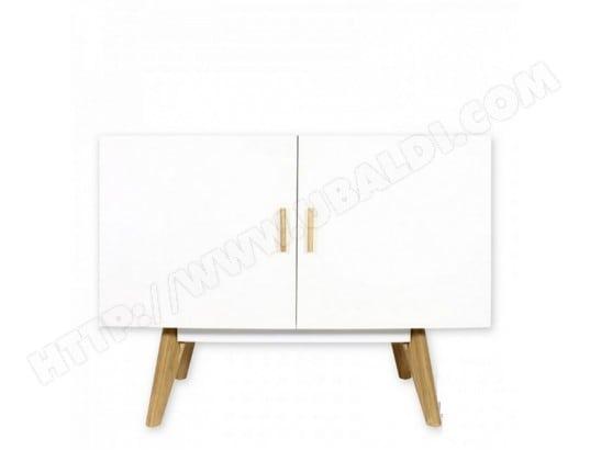 beaux meubles pas chers bahut buffet blanc 2 portes 4 pieds chene vintage 9307