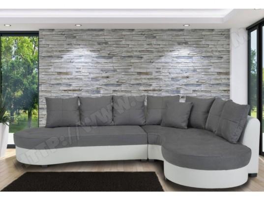 vente unique canape d angle bimatiere stephanie bicolore blanc et gris angle droit ma 82ca93 cana w5589