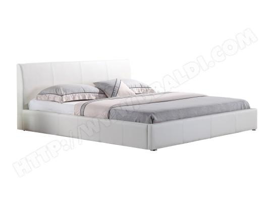 cadentro lit design en simili cuir blanc 160x200 cm monaco ma 90ca195litd pvunb
