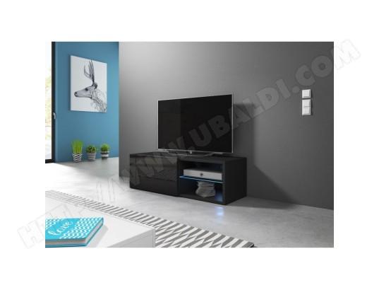 price factory meuble tv design brest hit 100 cm 1 porte 2 niches coloris noir brillant ma 76ca487meub irgqz