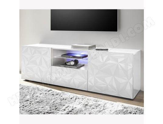 nouvomeuble grand meuble tv laque design blanc avec serigraphies paolo sans eclairage ma 82ca487gran 0xunh