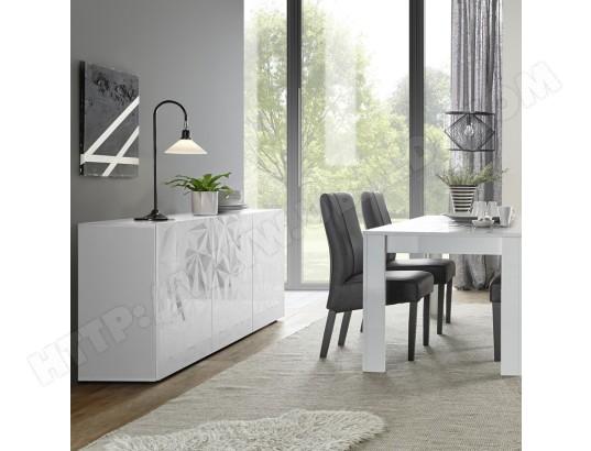 nouvomeuble salle a manger buffet 3 portes table extensible design blanc laque paolo ma 82ca492sall y4bre