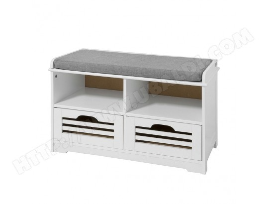 sobuy fsr36 k w meuble d entree banc de rangement commode a chaussure avec coussin rembourre 2 compartiments ouverts et 2 cubes fsr36 k w