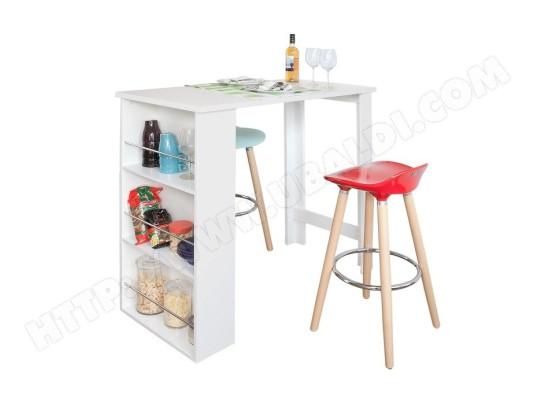 sobuy fwt17 w table haute de bar mange debout cuisine avec rangements blanc fwt17 w
