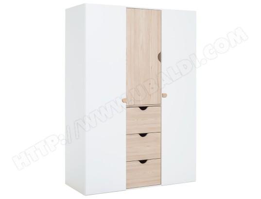 meubles vox armoire 3 portes stige blanc et bois 2568