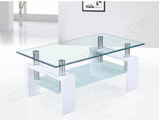 sofamobili table basse blanc laque et plateaux verre design ottavia tbas d 007