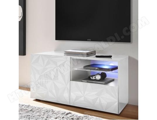 nouvomeuble petit meuble tv 120 cm blanc laque design sans eclairage paolo ma 82ca487peti bxg18