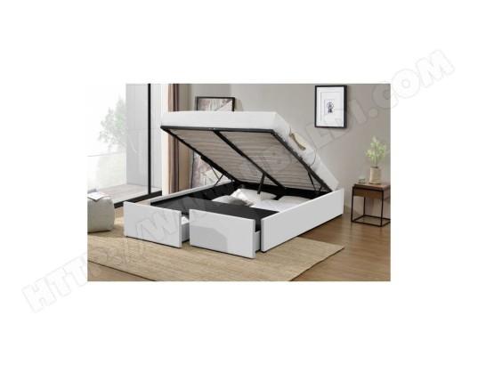 fournier decoration lagertha lit coffre p u blanc 180x200 cm 2 tiroirs ma 10ca186lage m0s6q