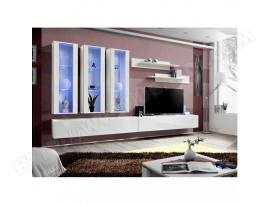 price factory meuble tv fly e3 design coloris blanc brillant meuble suspendu moderne et tendance pour votre salon ma 76ca494meub u1whj