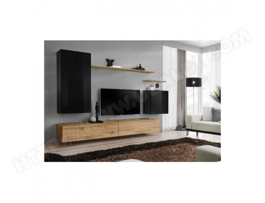 price factory meuble tv mural switch ii design coloris chene wotan et noir brillant ma 76ca487meub pythf
