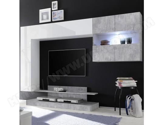 nouvomeuble meuble tv suspendu led design blanc laque et gris picerno ma 82ca487meub q2b4x