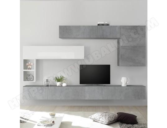 nouvomeuble meuble tv suspendu blanc laque et gris piana ma 82ca487meub jlif0