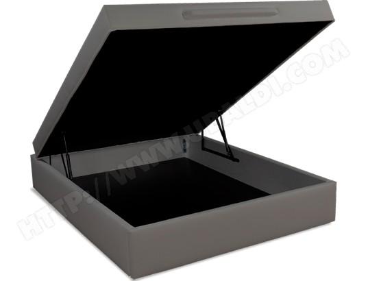 ub design sommier 160 x 200 lit coffre leo 2 160x200cm tissu deco taupe