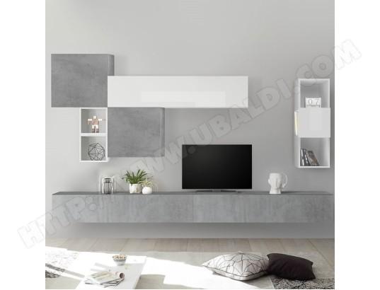 nouvomeuble meuble tv mural blanc et gris clair rovigo ma 82ca487meub mlz12