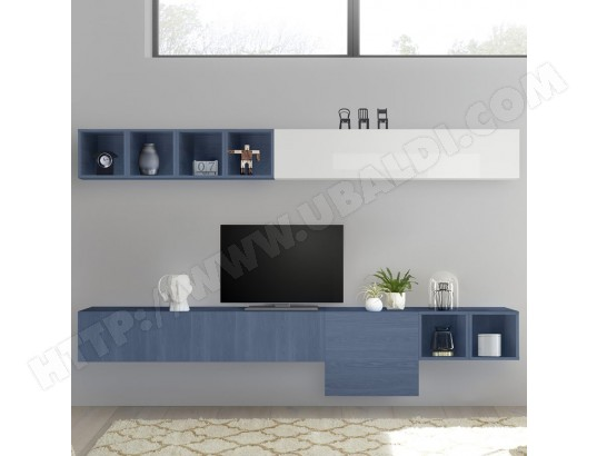 nouvomeuble meuble tele suspendu blanc laque et bleu manduria ma 82ca487meub p7a4n