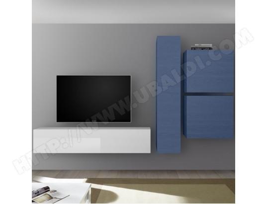 nouvomeuble meuble tv suspendu blanc laque et bleu punta ma 82ca487meub bc38j