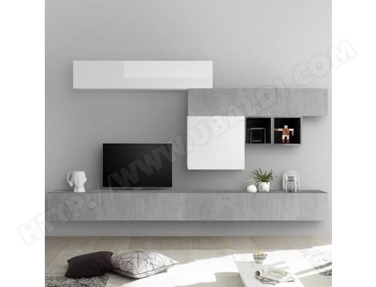 nouvomeuble ensemble meuble tv blanc laque et gris beton galatina ma 82ca487ense z68ji
