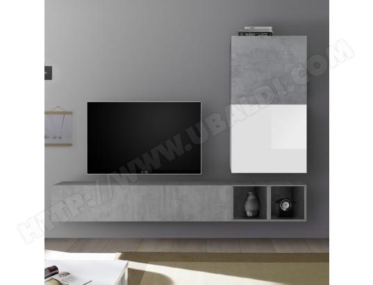 nouvomeuble meuble tv suspendu blanc laque et gris beton soleto ma 82ca487meub 7nevs