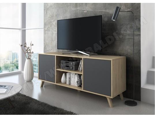 innovation meuble tv 140 avec 2 portes salon modele wind couleur structure puccini portes couleur gris anthracite mesure 140x40x57cm de haut