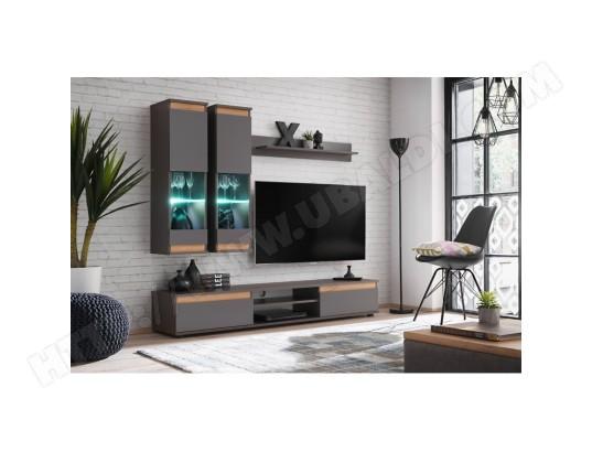 price factory meuble de salon complet meuble tv mojo composition murale coloris gris anthracite et chene led incluses ma 76ca494meub s3wx9