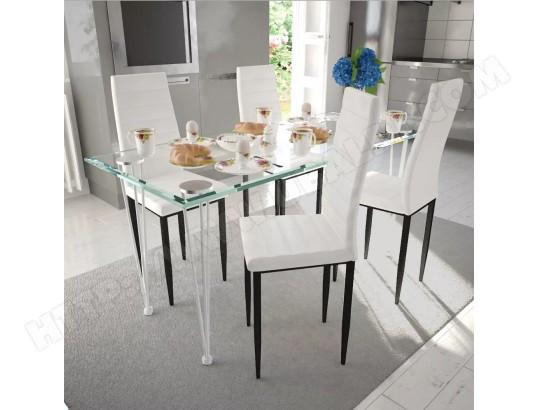 icaverne icaverne chaises de cuisine et de salle a manger moderne chaise de salle a manger 4 pcs design fin blanc icav241499