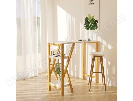 sobuy fwt56 w table de bar table haute de bar mange debout cuisine avec 2 etageres de rangement pied en forme k blanc ma 10ca492fwt5 aqa9u
