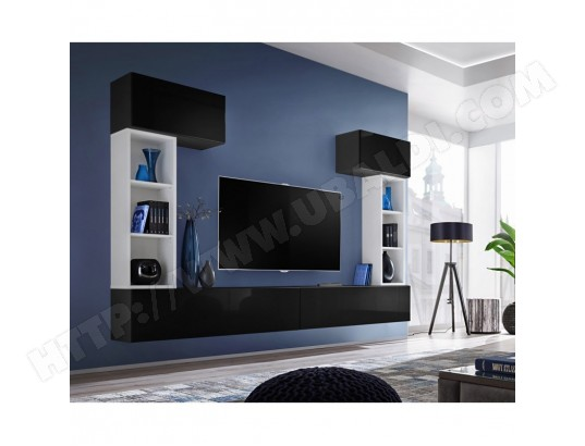 paris prix meuble tv mural design blox ii 280cm noir blanc ma 12ca487pari stiza