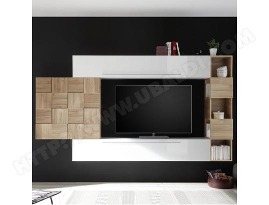 nouvomeuble ensemble meuble tv blanc laque et couleur bois clair licata ma 82ca487ense gtzaw