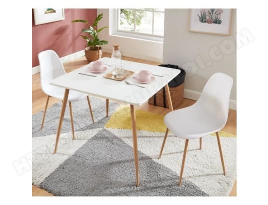 icaverne table a manger avec chaises bodo ensemble table a manger carree l 90 cm 2 chaises style scandinave decor bois et blanc