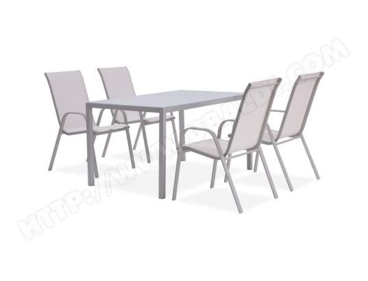 icaverne salon de jardin ensemble table chaise fauteuil de jardin ensemble repas de jardin table 140 cm en acier et 6 fauteuils blanc