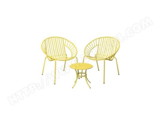 icaverne salon de jardin ensemble table chaise fauteuil de jardin opoa salon de jardin 2 places 2 fauteuils et une table basse en metal jaune