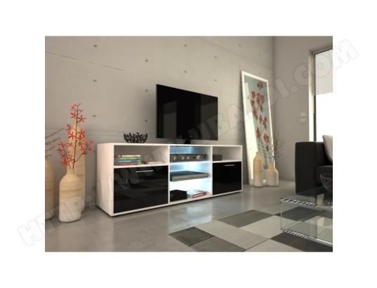 icaverne meuble tv meuble hi fi kora meuble tv contemporain blanc et noir brillant l 150 cm ma 15ca487meub 2szz7