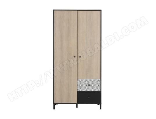 icaverne armoire de chambre manille armoire 2 portes decor chene noisette et noir l 90 x p 50 x h 186 cm ma 15ca194armo c4gox
