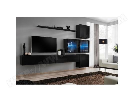 price factory ensemble meuble salon mural switch xix design coloris noir brillant ma 76ca494ense rhqjb