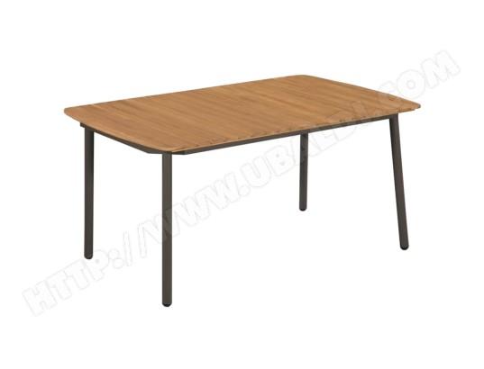 icaverne inedit meubles de jardin ligne alger table d exterieur bois d acacia solide et acier 150x90x72 cm ma 78ca281ined 0kquh