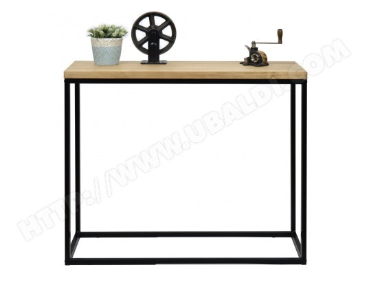 ds muebles table d entree console icub industriel vintage 35x100x82h cm 30mm noir 787142
