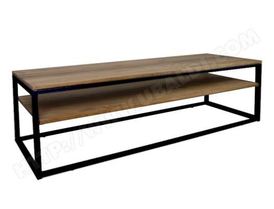 ds muebles meuble tv icub style industriel vintage 40x120x47 cm noir 782471