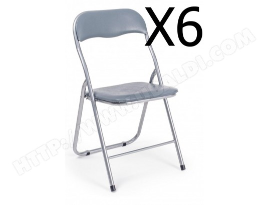 pegane lot de 6 chaises pliantes coloris gris l 45 x p 44 x h 79 cm pegane 60bz 5730527x6