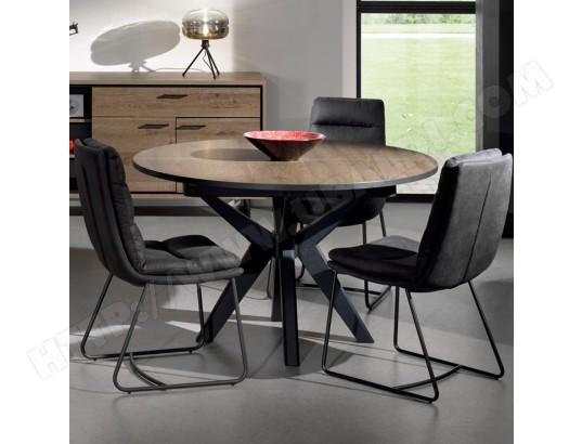 nouvomeuble table ronde extensible 130 cm couleur chene fonce estelle ma 82ca492tabl 5jdnz