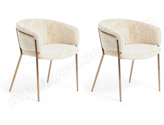 lf chaise lot de 2 chaises konnie tissu blanc